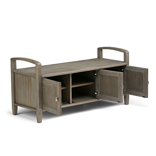 Product Image 3: SIMPLIHOME Warm SOLID WOOD 44 inch Wide Entryway Storage Bench with 3 Doors, Multifunctional Rustic inDistressed Grey