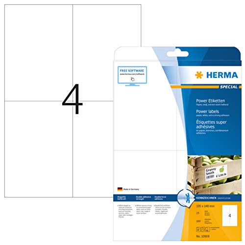 Herma 10909 - Etiquetas adhesivas (100 unidades, 4 en cada hoja, rectángulares, 105 x 148 mm), color blanco