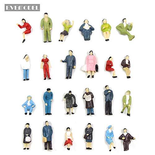 Evemodel 72Stk. verschieden sitzende und stehende Figuren Passenger Spur H0 1:87