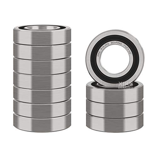 "XiKe 10 Pcs R16-2RS Double Rubber Seal Bearings 1"" x 2"" x 1/2"", Pre-Lubricated and Stable Performance and Cost Effective, Deep Groove Ball Bearings."