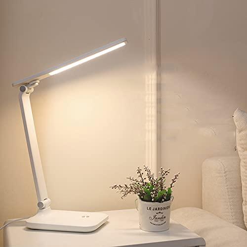 Lámpara Escritorio LED lámpara de Escritorio con Control táctil Lámpara Escritorio LED Metal Lámparas Mesilla de Plegable Luz Flexo Led Escritorio USB Recargable(blanco)