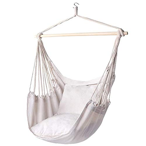 Cross-supporting hanging chair Bali series hanging chair Maximum load-bearing 200 kg hanging chair hanging chair indoor and outdoor garden balcony,White