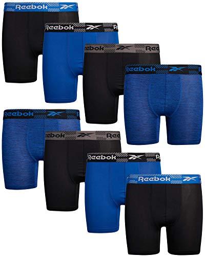 Reebok Schnelltrocknende Kompressions-Boxershorts für Jungen, 8 Stück, Schwarz/Königsblau, Größe XL (16/18))