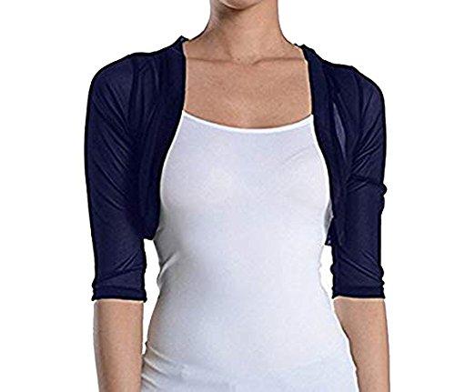 Fashion Secrets Junior`s Sheer Chiffon Bolero Shrug Jacket Cardigan 3/4 Sleeve (Large, Navy)