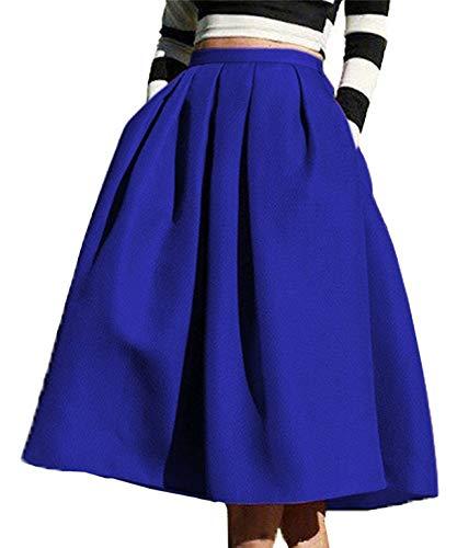 FACE N FACE Women's High Waisted A line Street Skirt Skater Pleated Full Midi Skirt Large Blue