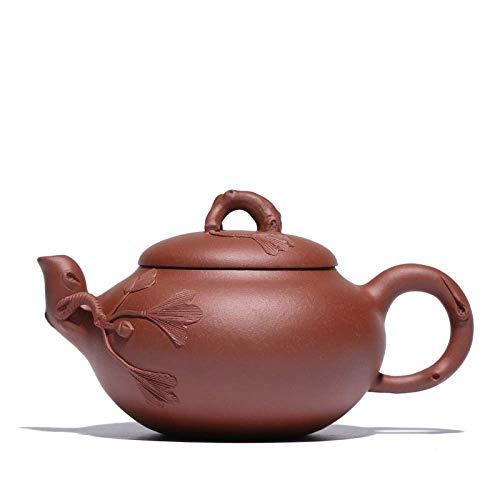 DX Zisha theepot, handgemaakte vintage retro unieke oosterse originele antieke ontwerp ruw erts paars klei keramische thee pot, 400 ml, Ginkgo fruit snijwerk