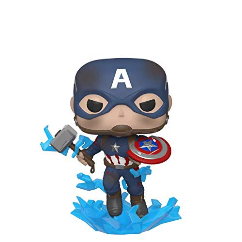 Funko 45137 POP Marvel: Endgame- Captain America w/BrokenShield & Mjolnir Capt A w/BrokenShield&Mjolnir Collectible Toy, Multicolour