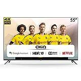 CHiQ Randloser Android UHD LED Fernseher 55 Zoll TV 4k Randlos Smart TV 139 cm Bilddiagonale,Google Assistant, Ultra HD, Prime Video & Chromecast,Netflix,YouTube