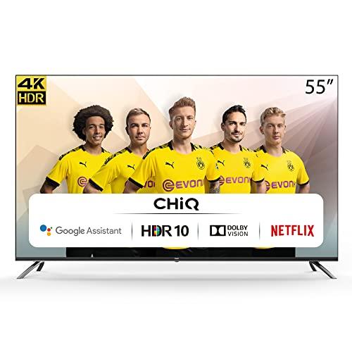 CHiQ Randloser Android UHD LED Fernseher 55 Zoll TV 4k Randlos Smart TV 139 cm Bilddiagonale,Google Assistant, Ultra HD, Prime Video und Chromecast,Netflix,YouTube
