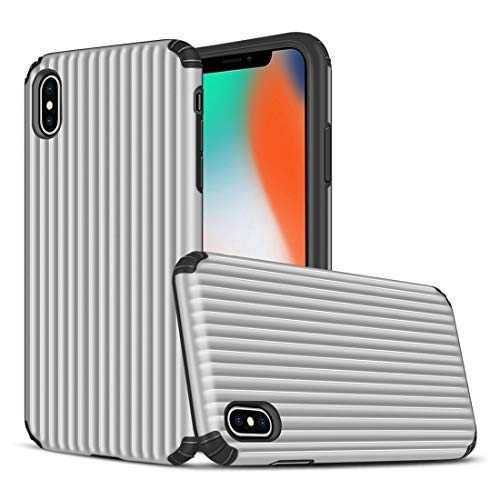 KIOKIOIPO-N Mode, Reise, Box-Form TPU + PC Schutzhülle for das iPhone XS Max (Color : Silber)