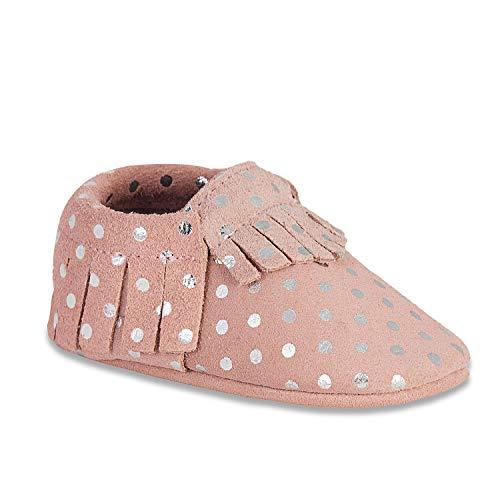 HMIYA Weiche Leder Krabbelschuhe Babyschuhe Lauflernschuhe mit Wildledersohlen für Jungen und Mädchen(6-12 Monate,Rosa Silber)