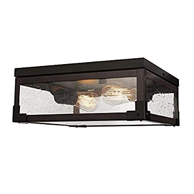 Globe Electric Williamsburg 2-Light Flush Mount Ceiling Light, Dark Bronze, Dark Wood Finish Accents, 5 Seeded Glass Panes 65917