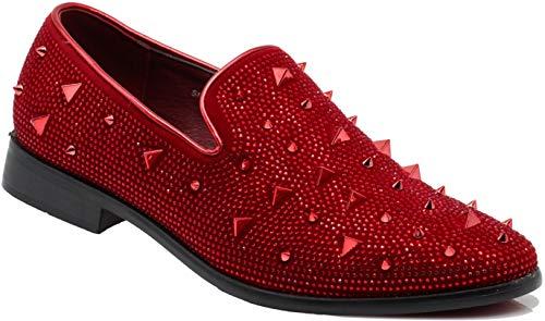 SPK24 Men Vintage Spikes Sparkle Formal Tuxedo Stage Fashion Slip On Loafer Dress Shoes (9.5 D(M) US, Red)