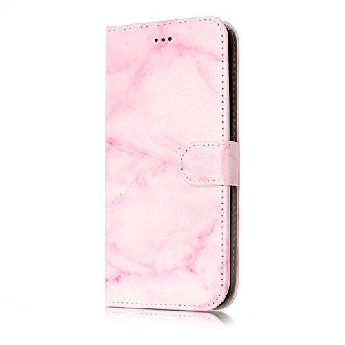 ISAKEN Compatible con Galaxy J5 2016, funda de piel sintética con tapa y cartera, funda de piel sintética para Samsung Galaxy J5 2016, color rosa mármol