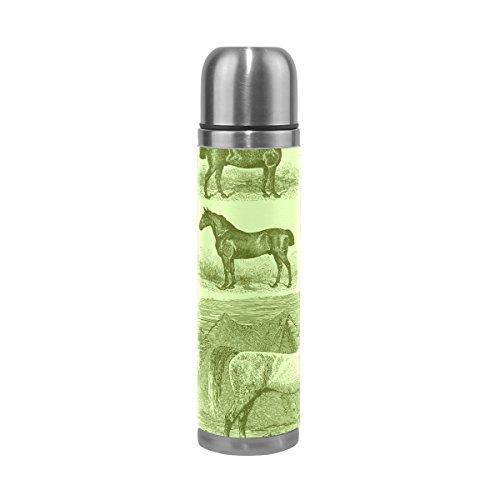 BENNIGIRY - Botella de agua de acero inoxidable con aislamiento al vacío para caballo árabe, construcción de doble pared portátil termo botella de agua, mantiene su bebida caliente y fría (500 ml)