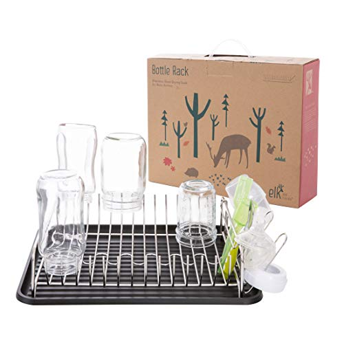 Elk and Friends Stainless Steel Baby Bottle Drying Rack  Countertop Dryer Rack with Drainer  Glasses Mason Jars amp Sippy Cup Organizer Black Tray
