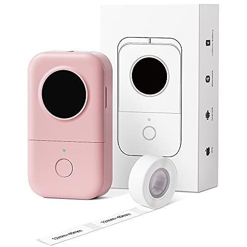 Phomemo D30 Impresora de etiquetas Bluetooth Máquina etiquetadora adhesivas impresora de etiquetas térmica portátil,para el hogar,colegio,Tienda,nombre,compatible con Android y sistema ios,Sakura Pink