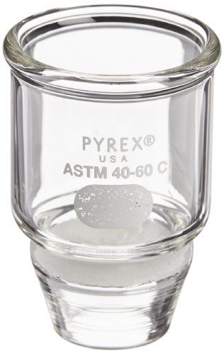 Corning Pyrex Borosilicate Glass Low Form Gooch Crucible with 20mm Diameter Coarse Porosity Fritted Disc, 15mL Capacity