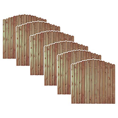 MEIN GARTEN VERSAND 6 x günstiges Holz Gartenzaun + Sichtschutzzaun im Maß 180 x 180 auf 160 cm (Breite x Höhe) Bochum Aktionsset