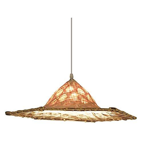 HSLJ1 Sombrero de paja de la lámpara, estilo japonés colgante retro tejidas a mano de la lámpara simple cubierta de techo Luz de bambú creativo Suspensión Luminaria for restaurantes Balcones tienda de