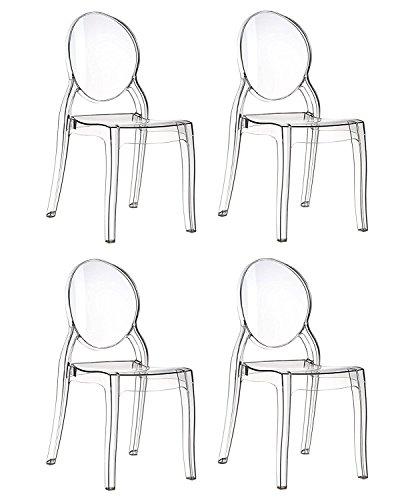EGLEMTEK Set di 4 Sedie Design in Policarbonato Trasparente Cristal Light