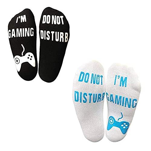 2 Paar Do Not Disturb Socken I'm Gaming Socken Nicht Stören Wintersocken Baumwoll-Socken Rutschfeste Haussocken Lustige Socken Geschenk für Damen Herren Weihnachten Valentinstag Spieleliebhaber