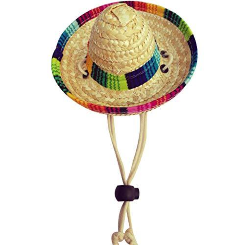 rongweiwang Paja Tejida Mexicana para Mascotas Sombrero de Sol Hebilla Ajustable Cuerda Jardín Casquillo del Cubo para el Perro pequeño Gato