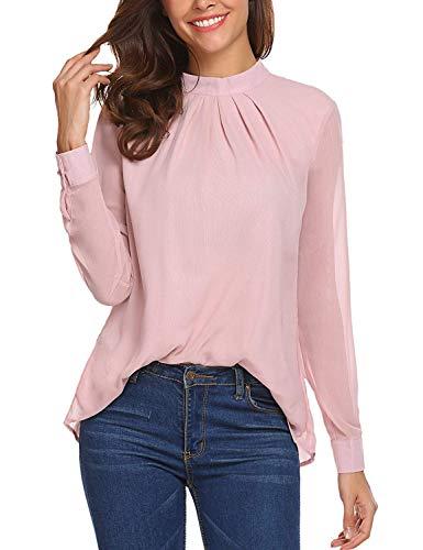 SoTeer Chiffon Blouse Women Loose Casual Long Sleeve Tops Layered Dress Shirts Pink