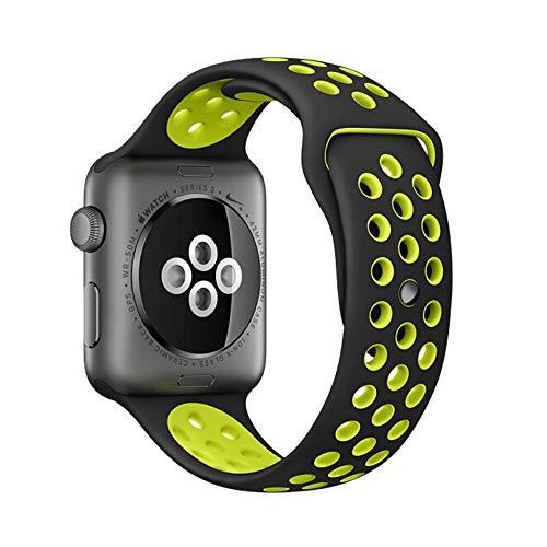 Pulseira Silicone Sport P/Smartwatch Preto/Verde 42mm 44mm