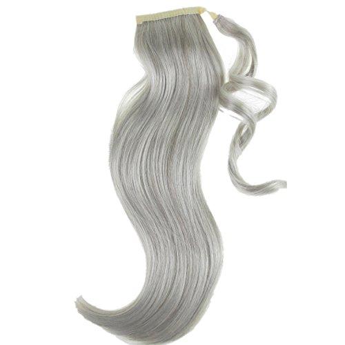 301 VANESSA GREY Toutes les couleurs disponibles, Extension De Cheveux (postiche) Queue De Cheval, à Enrouler Autour Des Attaches Pour Les Dissimuler, Dans Notre Fameux Mélange De Gris Moyens