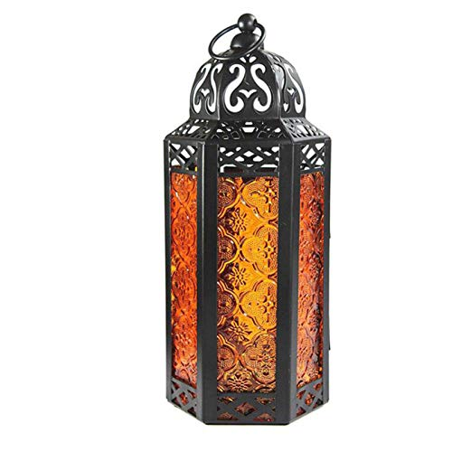 Vintage Country Stained Glass Wind Lantern Candle Holder for Bedroom and Bathroom Decor Home Decoration Iron Art Candle Holder Pony Lantern Decoration Orange-M