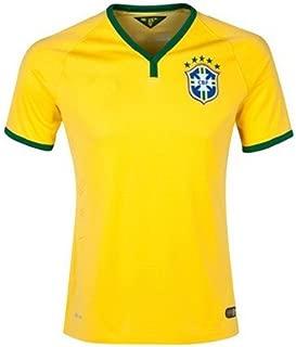 BILUSOCN New Brazil 2014 World Cup Nation Home Yellow Soccer Jersey Uniform Man Size XL