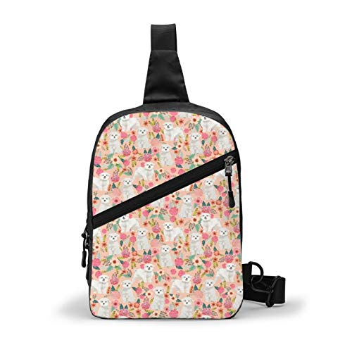 Toy Dogs Cute Maltese Dog Design Best Florals Cute Toy Dogs Chest Package Multipurpose Crossbody Sling Backpack Outdoor Shoulder Bag Travel Hiking Daypack Men & Women Casual Sport Rucksack