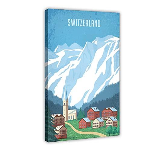 Vintage Alpine Suiza Ginebra Alpes Zúrich Suiza Berna Travel I Póster de lona para decoración del dormitorio, arte pop para la oficina, decoración de la habitación, marco de regalo, 60 x 90 cm