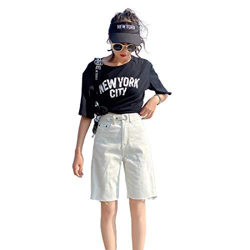 Pantalones Vaqueros de Pierna Recta de Cintura Alta para Mujer Pantalones Cortos de Mezclilla con Botones relajados de Talla Grande de Talla Grande con Bolsillos 26