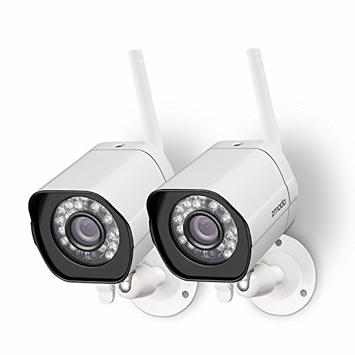 Zmodo Wireless Security Camera System (2 Pack) Smart HD Outdoor WiFi IP Cameras with Night Vision - Works with Alexa