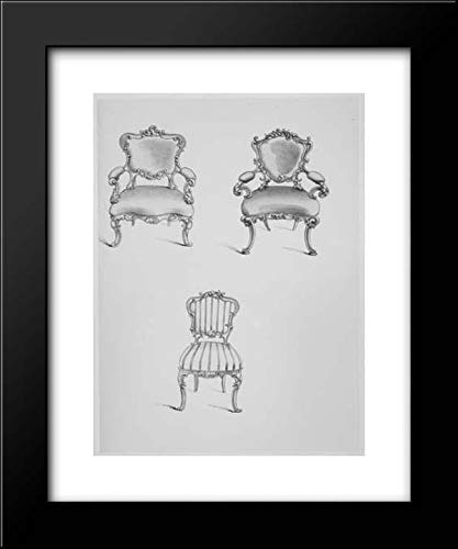 Thomas King - John Weale - 20x24 Framed Art by Museum Prints Titled: Specimens of Furniture in The Elizabethan & Louis Quatorze Styles. Adapted for Modern Imitation