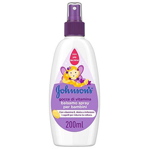 JOHNSON'S Baby, Balsamo Spray per Bambini, Gocce di Vitamina, Senza Coloranti Solfati Alcol e Sapone, Non Più Lacrime, con Vitamina E, 200ml