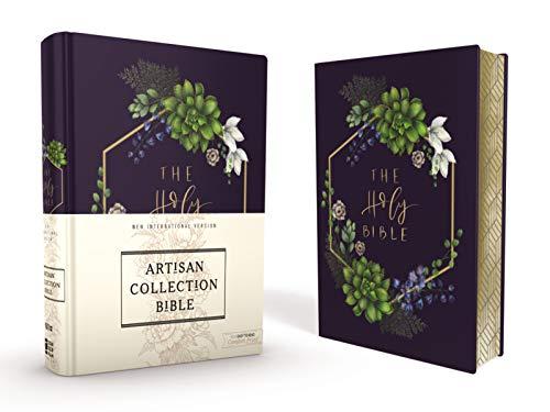 NIV, Artisan Collection Bible, Cloth over Board, Navy Floral, Designed Edges under Gilding, Red Letter, Comfort Print