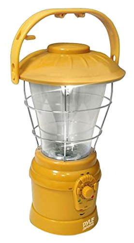 Portable Multifunctional Hand Crank Lantern - Portable Battery Operated Radio Lamp with AM/FM Radio, Speaker, Powered by AA Batteries, Rechargeable Battery, Power Hand Crank Recharger - Pyle PSDNL22YL