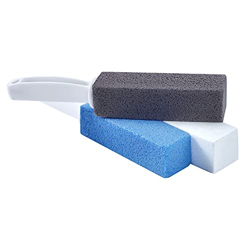 LIANTENG Pumice Cleaning Stone with Long Handle 3 Pack, Toilet Bowl Ring Hard Water Ring Cleaner, Limescale & Stain & Rust Grill Griddle Remover Cleaning Brush for Bath, Pool, Kitchen, Household