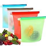 Bolsas de Silicona Reutilizables 4 PCS, Usetcc Bolsas de Comida Bolsa de Conservación, Bolsas de Congelación de Silicona para Fruta Verduras Carne Cocina Hogar y Viajes