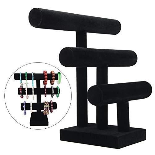 Wyi - Soporte de terciopelo negro en forma de T para joyas, 3 niveles, para exhibir pulseras, relojes, collares, organizadores, joyas, torre as the pictures negro