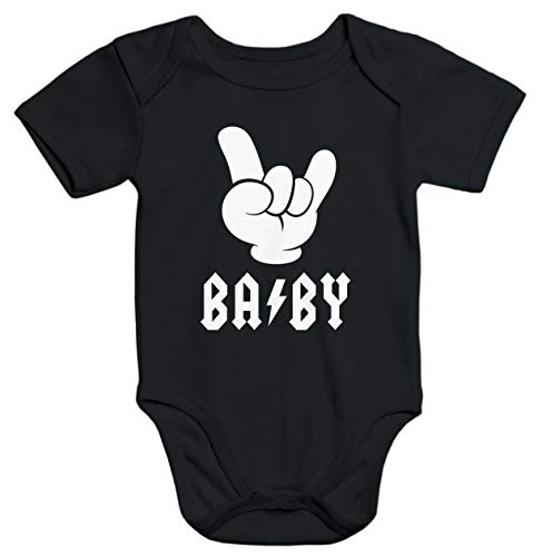 MoonWorks® Kurzarm Baby Body Baby Hardrock Heavy Metal Bio-Baumwolle schwarz 6-12 Monate