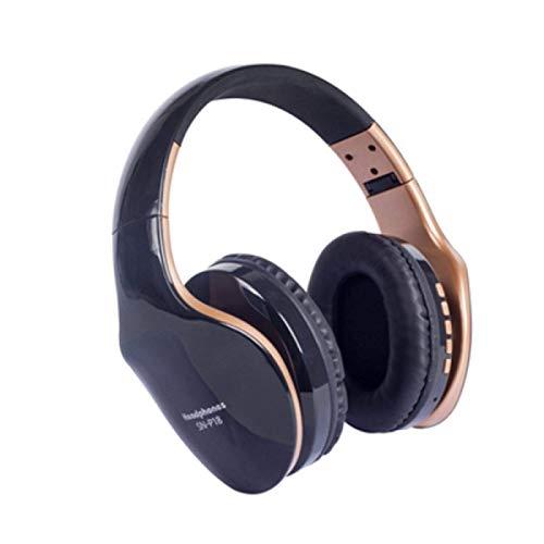 Inalámbrico pesado auricular sobre la oreja auricular Bluetooth teléfono móvil inalámbrico deportes y fitness escuchar música y música Negro y oro JoinBuy.R