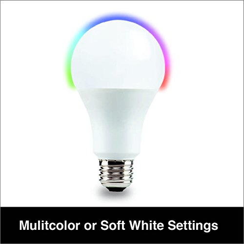 Vivitar LB-80 Wi-Fi Multicolor and Soft White A19 Dimmable 1050 Lumen 75W Equivalent LED Smart Bulb with Amazon Alexa and Google Home Voice Control and iOS and Android App