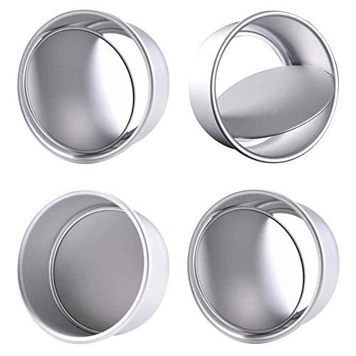 4PCS 4 Pollici Tortiere Rotonde in Alluminio Set di Stampi per Torta Rotonda Tortiera Rotonda in Alluminio Antiaderente con Fondo Rimovibile per Matrimonio/Compleanno/Torta Natalizia Argento