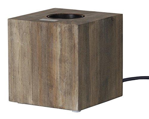 Lampe en bois Kub, culot E27, couleur : naturel, avec interrupteur, env. 9 x 9 cm (ampoule non incluse)