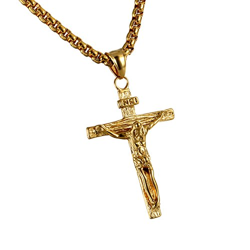 Cupimatch Mens Stainless Steel Jesus Christ Crucified Cross Pendant Necklace Chain Golden (Gold)