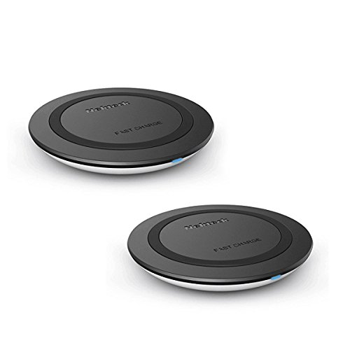 Nekteck Wireless Charger Fast Wireless Charging Pad for Samsung Galaxy S9/ S9+/ S8 /S8 Plus /S7 /S6 S7 Edge/Note 8 5, Standard Charger for iPhone X/Xs Max/ 8/ 8Plus 2 Pack (Adapter NOT Included)